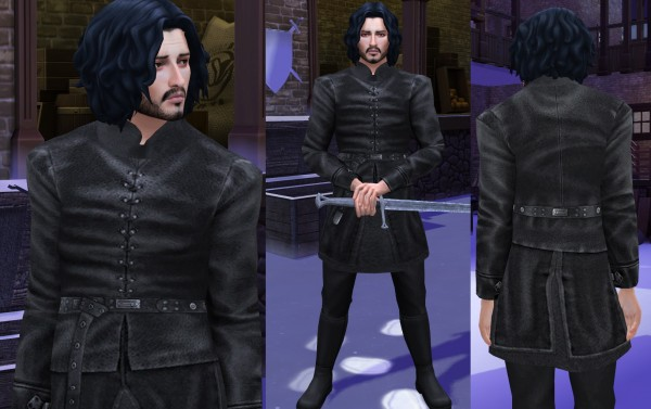 Mod The Sims: Game of Thrones The Nights Watch Take The Black Jon Snow Outfit by HIM666