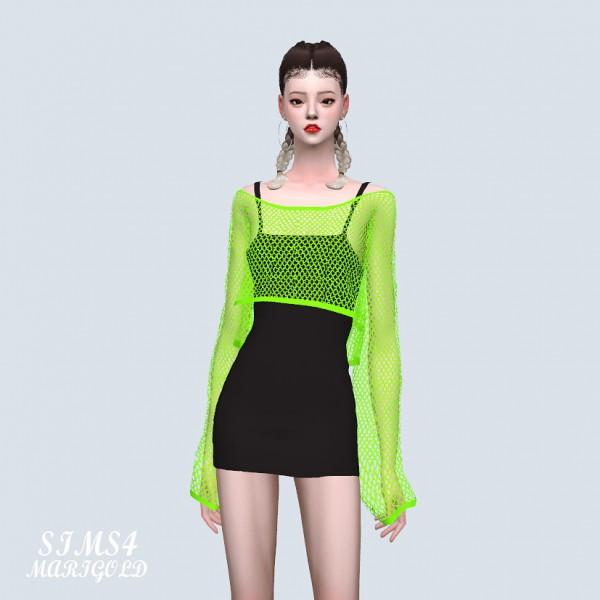 SIMS4 Marigold: Crop See through Knit Dress