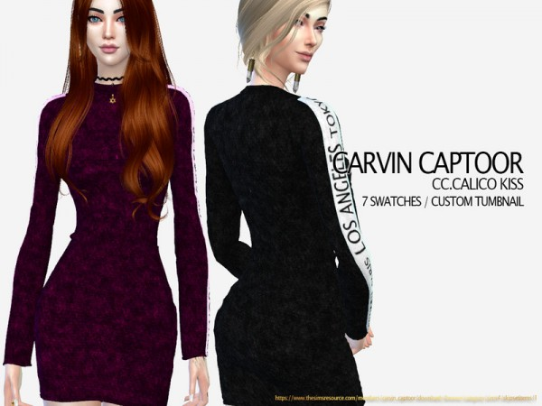 The Sims Resource: Calico Kiss Dress by carvin captoor