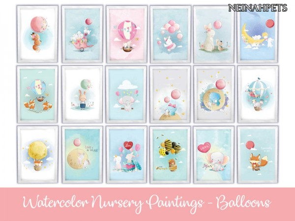 The Sims Resource: Watercolor Nursery Paintings   Balloons by neinahpets
