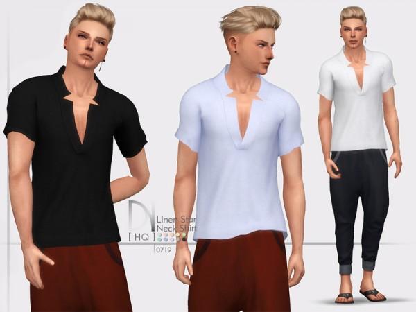 The Sims Resource: Linen Star Neck Shirt by DarkNighTt
