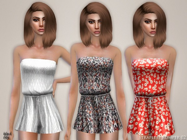 The Sims Resource: Strapless Romper 02 by Black Lily