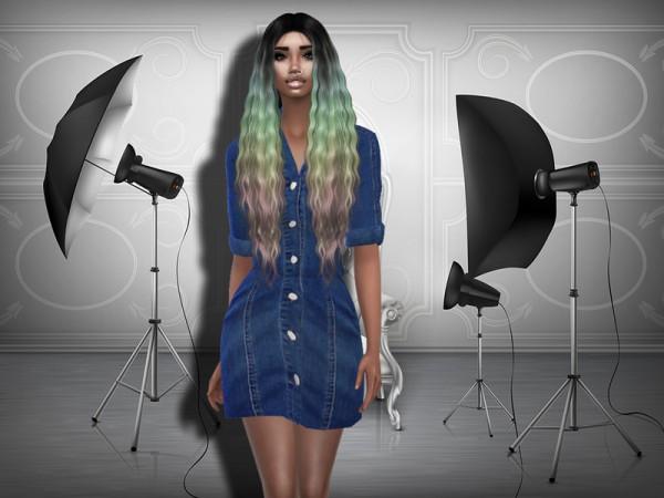 The Sims Resource: Sleeve Strech Denim Dress by Teenageeaglerunner