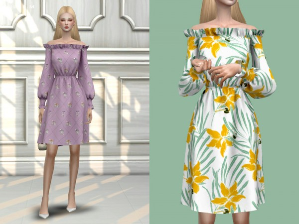 The Sims Resource: Off the Shoulder Dress by ChloeMMM