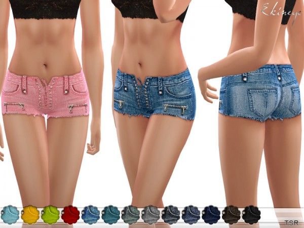 The Sims Resource: Lace Up Denim Shorts by ekinege