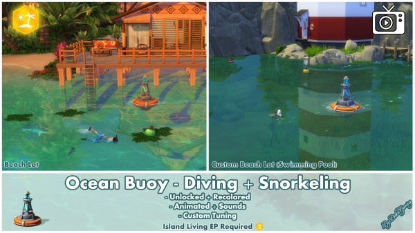 Mod The Sims: Ocean Buoy   Diving and Snorkeling by Bakie