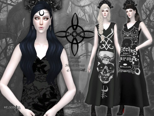 The Sims Resource: OHRA   Witch Maxi Dress by Helsoseira