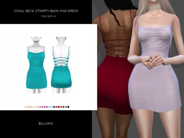 The Sims Resource: Cowl Neck Strappy Back Mini Dress by Bill Sims