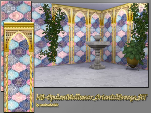 The Sims Resource: Opulent Wallwear Oriental Breeze Set by matomibotaki
