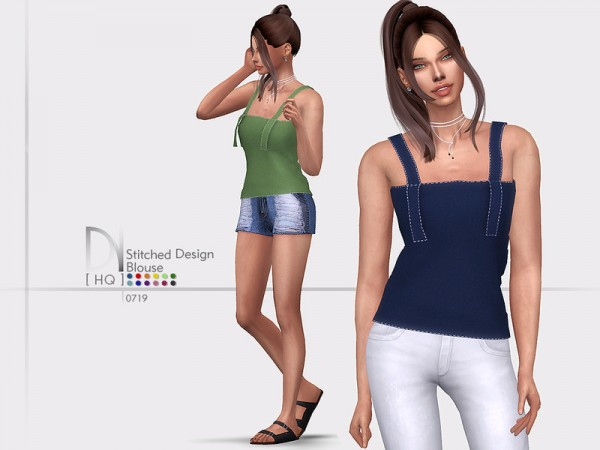 The Sims Resource: Stitched Design Blouse by DarkNighTt