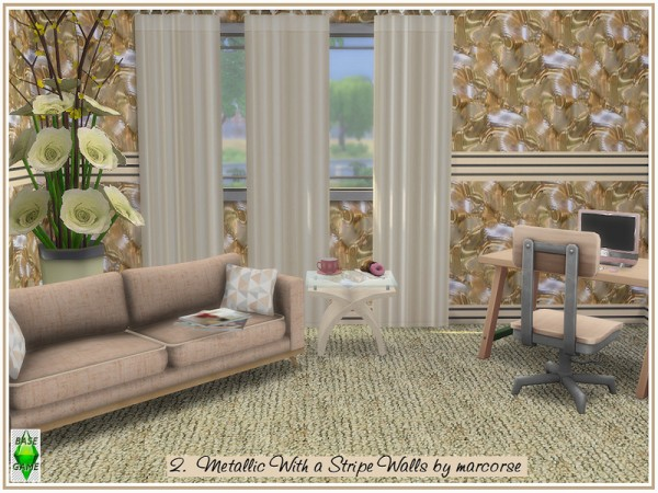 The Sims Resource: Metallic With a Stripe Walls by marcorse