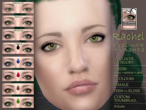 The Sims Resource: Rachel   eyeliner and lashes by BAkalia