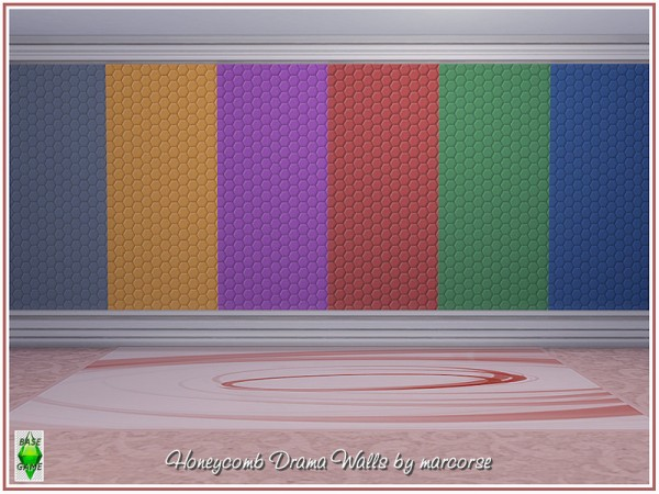 The Sims Resource: Honeycomb Drama Walls by marcorse