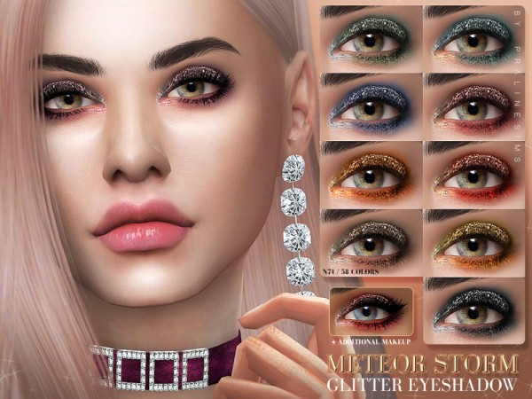 The Sims Resource: METEOR STORM Glitter Eyeshadow N74 by Pralinesims