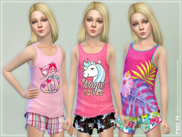The Sims Resource: Summer Print Top and Shorts 04 by lillka