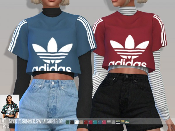 The Sims Resource: Sporty Summer Sweatshirts 02 by Pinkzombiecupcakes