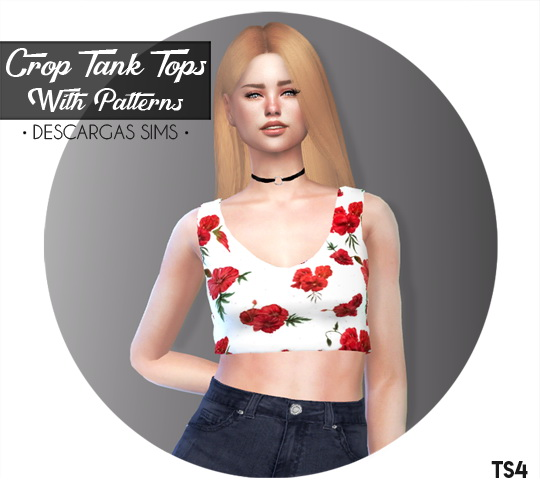 Descargas Sims: Crop Tank Tops   With Patterns