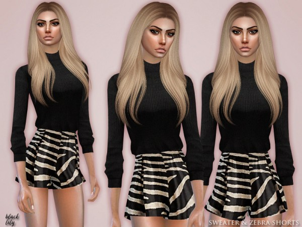 The Sims Resource: Sweater and Zebra Shorts by Black Lily