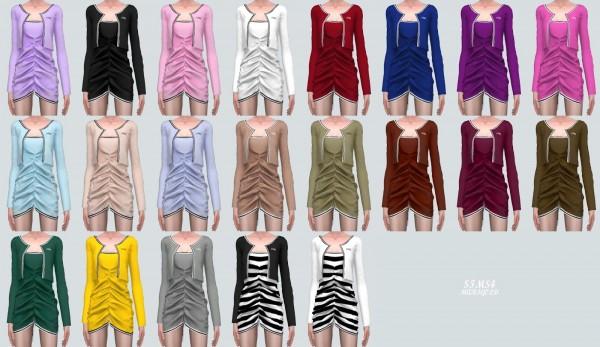 SIMS4 Marigold: Shirring Dress With Cardigan