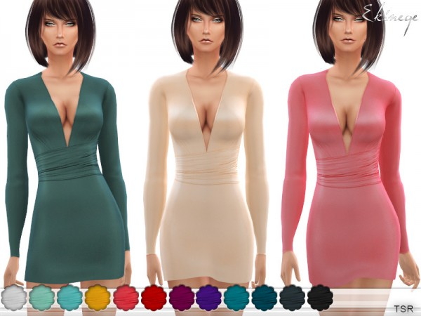 The Sims Resource: Deep V Neck Dress by ekinege