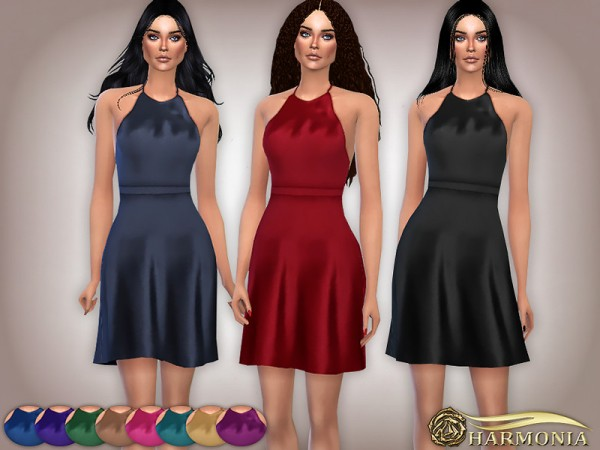 The Sims Resource: Glossy Satin Halter Nightgown by Harmonia