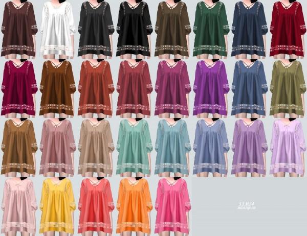 SIMS4 Marigold: Ethnic Lace Loose fit Mini Dress