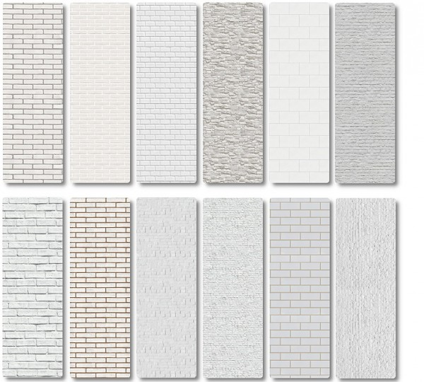 Blooming Rosy White Brick And Plaster Walls Sims 4 Downloads