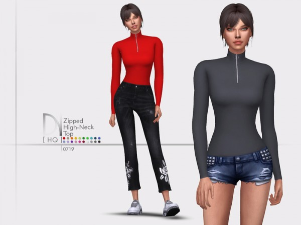 The Sims Resource: Zipped High Neck Top by DarkNighTt