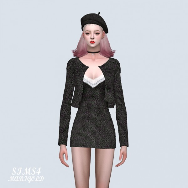 SIMS4 Marigold: Lace Mini Dress With Cardigan
