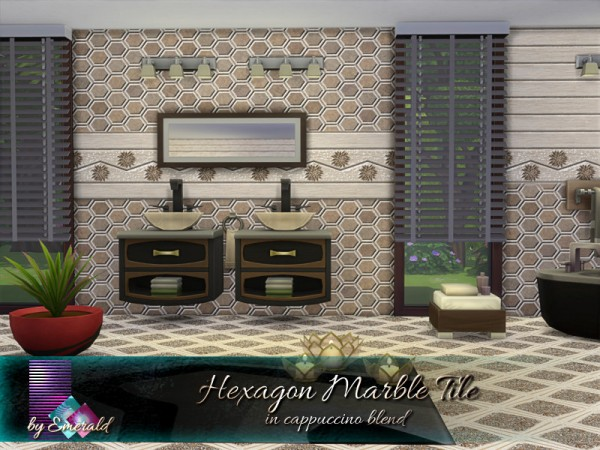 The Sims Resource: Hexagon Marble Tile in cappuccino blend by emerald