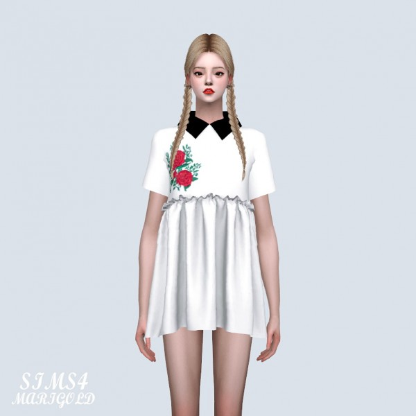 SIMS4 Marigold: Embroidery Babydoll Mini Dress With Collar