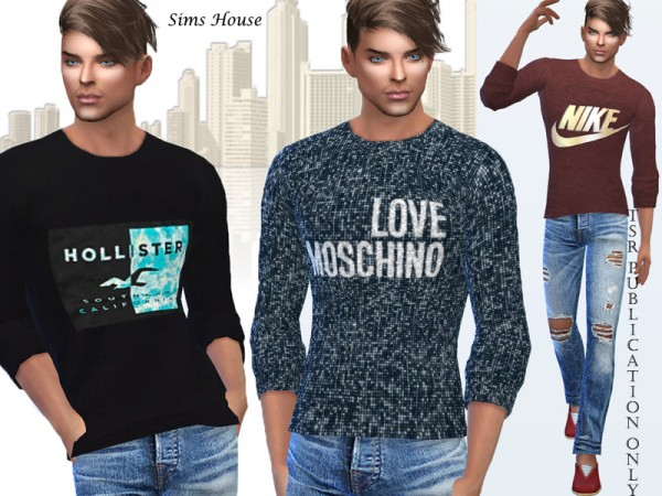 The Sims Resource: Mens Long Sleeve T shirt by Sims House