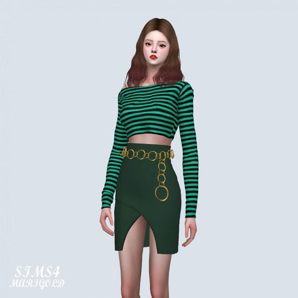 SIMS4 Marigold: Unbalance Tulip Mini Skirt With Circle Belt