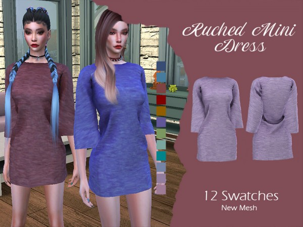 The Sims Resource: Ruched Mini Dress by Lisaminicatsims
