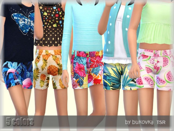 The Sims Resource: Shorts Tropics by bukovka