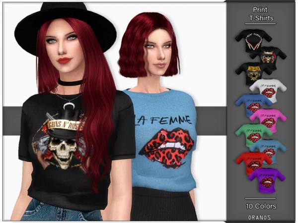 The Sims Resource: Print T Shirts by OranosTR