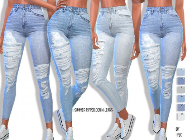 The Sims Resource: Summer Ripped Denim Jeans by Pinkzombiecupcakes