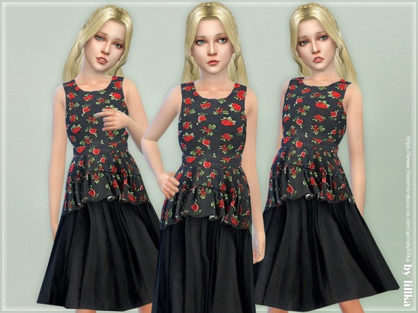 The Sims Resource: Floral Printed Dress by lillka