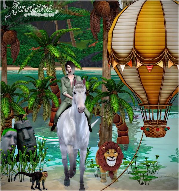 Jenni Sims: Summer Denim Balloon, PalmTrees, Hammock, Plants, Monkey, Sculpture