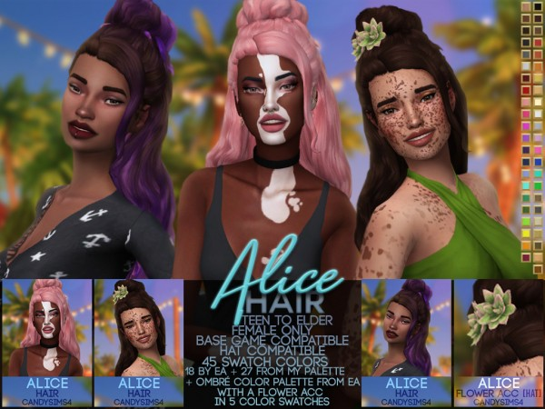 Candy Sims 4: Alice Hair and flower accessories