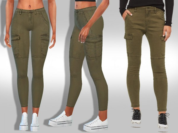 The Sims Resource: Trendy Cargo Skinny Pants by saliwa