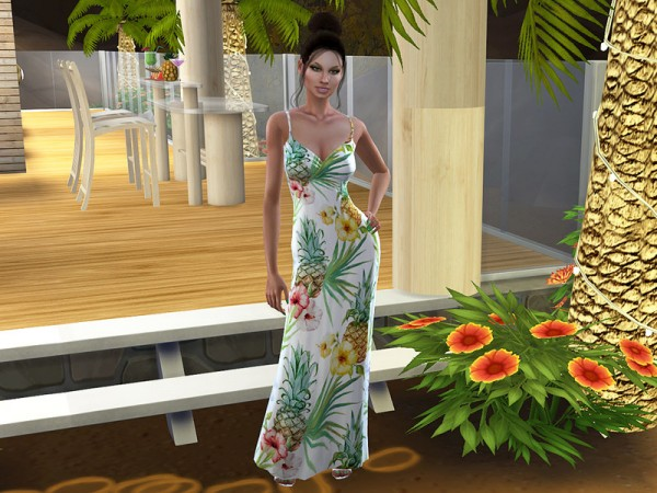 The Sims Resource: Tropical Pineapple Maxi Dress by neinahpets