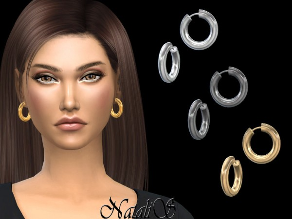 The Sims Resource: Tube hoop small earrings by NataliS