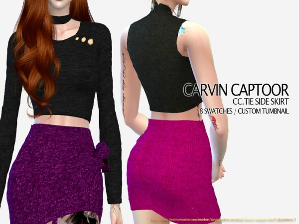 The Sims Resource: Tie Side Skirt by carvin captoor