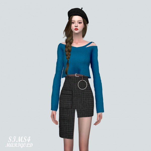 SIMS4 Marigold: Pocket Uneven Midi Skirt With Belt