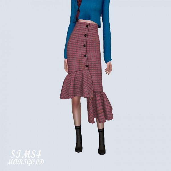 SIMS4 Marigold: Uneven Frill Long Skirt