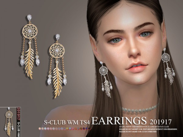 The Sims Resource: Earrings 201917 by S club