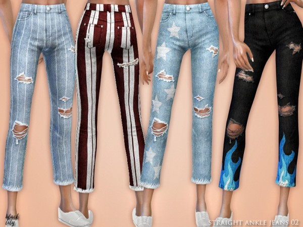 The Sims Resource: Straight Ankle Jeans 02 by Black Lily