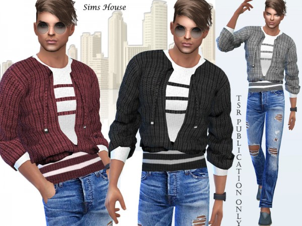 The Sims Resource: Mens sweater with a t shirt by Sims House