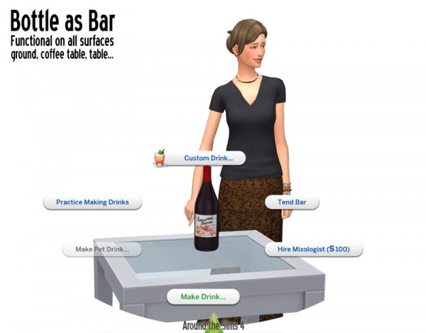 Around The Sims 4: Bottles working as bar
